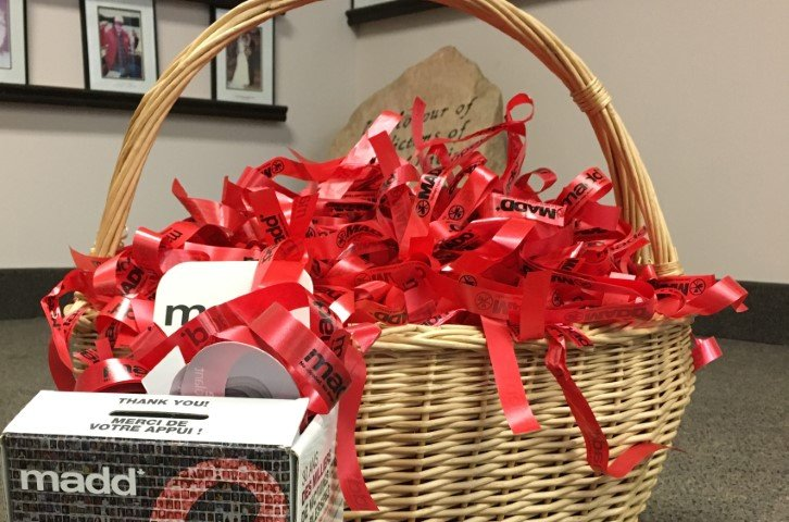 Red Ribbons in a basket